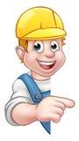 Handyman Builder Worker in Hard Hat Stock Photo
