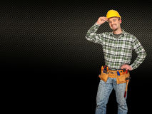 Handyman and carbon background royalty free stock photos