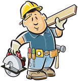 Handyman carpenter. Wearing a tool belt, carrying an electric saw and piece of lumber vector illustration