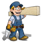 Handyman - Carpenter blue. Cartoon illustration of a handyman - carpenter carrying planks of wood vector illustration
