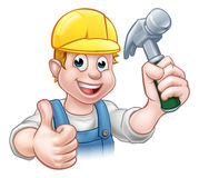 Handyman Carpenter Cartoon Character Holding Hammer Stock Images