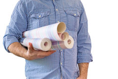 Handyman carrying rolls of wallpaper Royalty Free Stock Image