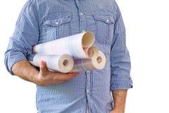 Handyman carrying rolls of wallpaper Royalty Free Stock Image