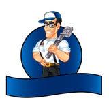 Handyman cartoon holding a huge wrench royalty free illustration