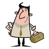 Handyman cartoon illustration. Cartoon illustration of a handyman carrying toolbox Royalty Free Stock Photography