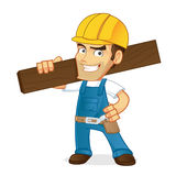 Handyman holding wooden plank  Royalty Free Stock Images