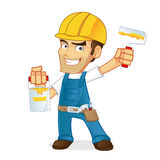 Handyman holding paint and roller  Royalty Free Stock Photos