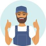 Handyman character thumbs up Stock Photos
