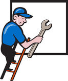 Handyman Climbing Ladder Window Cartoon Stock Photography