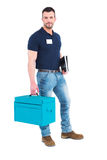 Handyman with clipboard and toolbox. On white background Stock Photos