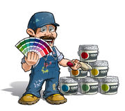 Handyman - Colour Picking Painter Blue Uniform Royalty Free Stock Photo