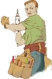 Handyman. Composition of handyman wearing work clothes Stock Photos