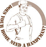Handyman. Composition of handyman wearing work clothes Stock Images