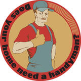 Handyman. Composition of handyman wearing work clothes Stock Image