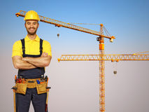Handyman and construction metal crane background Stock Images