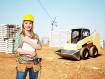 Handyman at construction site Royalty Free Stock Photo