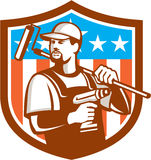 Handyman Cordless Drill Paintroller Crest Flag Retro Stock Image