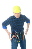 Handyman cowboy. Handyman standing in cowboy duel pose representing that he is in condition to fight against any problem in his job Stock Photo