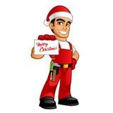 Handyman. He is dressed as santa claus Stock Photos