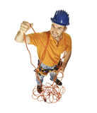 Handyman with electric wire Royalty Free Stock Image