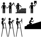Handyman Electrician Painter Contractor Working Fixing Repair House Light Roof Icon Symbol Sign Pictogram Royalty Free Stock Images