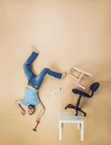 Handyman falling from height Royalty Free Stock Image