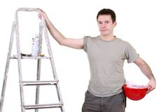 Handyman finishing work Royalty Free Stock Image