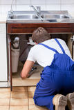 Handyman fixing sink in the kitchen Stock Image