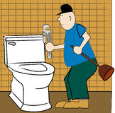 Handyman fixing toilet Royalty Free Stock Photos