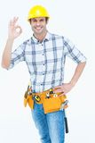 Handyman gesturing OK sign Royalty Free Stock Photography