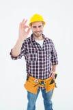 Handyman gesturing okay Royalty Free Stock Photography