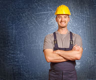 Handyman and grunge background Stock Photos