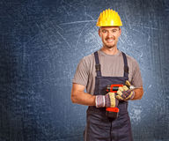 Handyman and grunge background Royalty Free Stock Photos