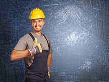 Handyman and grunge background Stock Image
