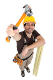 Handyman with hammer Royalty Free Stock Photos