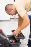 Handyman and His Tool Bag royalty free stock photography