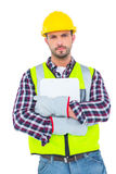 Handyman holding clipboard. On white background Stock Photography
