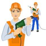 Handyman holding green drill Royalty Free Stock Photo
