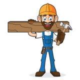 Handyman Holding Hammer and Wood Plank Stock Photo