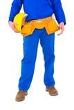 Handyman holding helmet Stock Photos