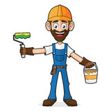 Handyman Holding Paint And Paint Roller Royalty Free Stock Photos