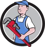 Handyman Holding Pipe Wrench Circle Cartoon Stock Image