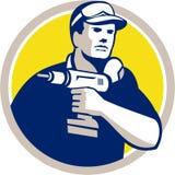 Handyman Holding Power Drill Circle Retro Royalty Free Stock Photo