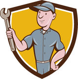 Handyman Holding Spanner Crest Cartoon Royalty Free Stock Images