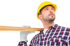 Handyman holding wood planks Royalty Free Stock Photos