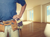Handyman at home. Closeup image of handyman at home Royalty Free Stock Images