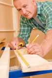 Handyman home improvement close-up of measure wood Stock Photo