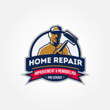 Handyman home repair corporate service symbol on white backgroun. Handyman home repair corporate service badge symbol isolated on white background illustration Stock Images