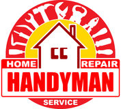 Handyman home repair services. Round vector design for your logo Royalty Free Stock Photo