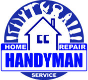 Handyman home repair services. Round vector design for your logo. Or emblem with home and set of workers tools. There are wrench, screwdriver, hammer, pliers royalty free illustration